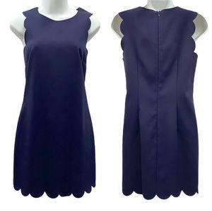 J. CREW Scalloped Hem Navy Blue Dress Size 2